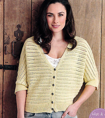 """KNITTING PATTERN LADIES 32-50/"""" CABLED LACY CARDIGAN SHORT-SLEEVED DK SKM M4A"""