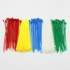 "1000 PCS 4"" inch Network Cable Cord Wire Tie Strap 15 Lbs Zip Nylon Five Color"