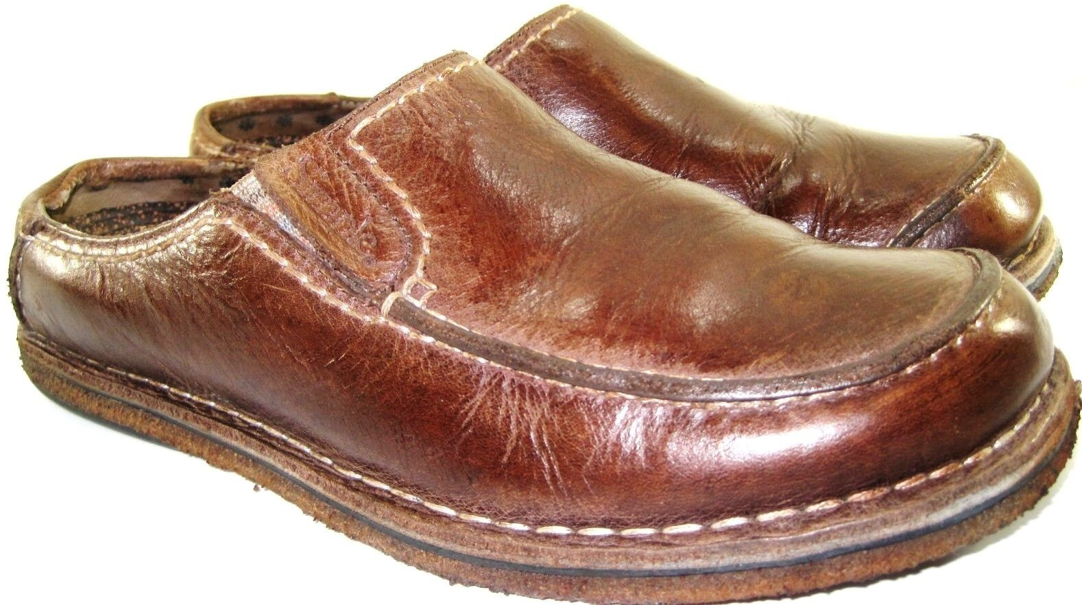 Simple Uomo Mule Shoes Size 8.5 Euro 39.5 Brown Style 69136 Rubber Cushion Insole