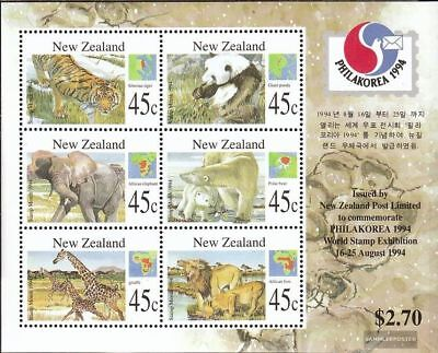 complete.issue. Unmounted Mint Steady New Zealand Block44 Never Hinged 1994 Mammals
