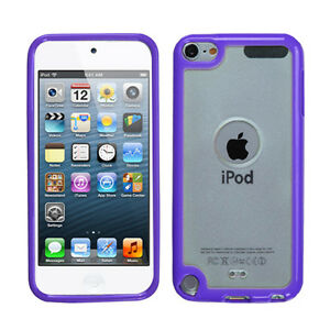 iPod Touch 5th 6th 7th Gen - Purple Clear TPU Gummy Hard Rubber Skin Case Cover