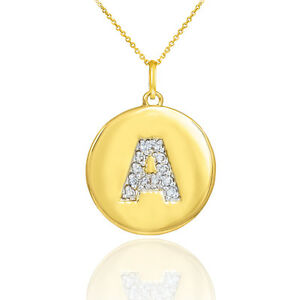 10k-Yellow-Gold-Letter-034-A-034-Initial-Diamond-Disc-Charm-Pendant-Necklace