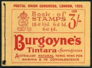 1929 KGV PUC 3/- Red on Buff COMPLETE Booklet No. 168 SG BB25