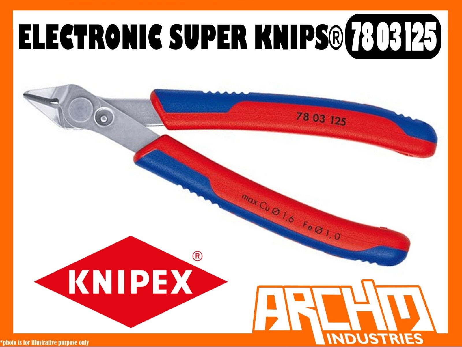 KNIPEX 7803125 - ELECTRONIC SUPER KNIPS® - 125MM - PRECISION PLIERS CUTTING EDGE