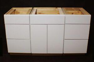 Set Of 3 Kraftmaid Dove White Kitchen Bathroom Vanity Sink Base Cabinets 60 Ebay