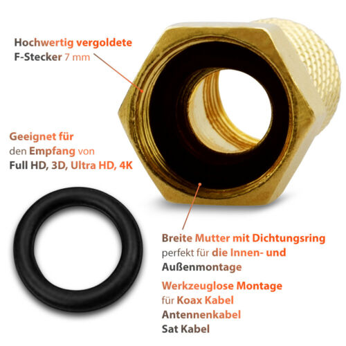 8x F-Stecker Sat 4K Verbinder Doppel Buchse Dichtring 7mm Koaxialkabel Vergoldet
