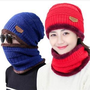 afb0ebebc42 Knit Hat Scarf Cap For Men Women Beanie Fur Skullies Thick Wool ...