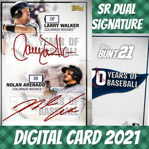 Topps Bunt Nolan Arenado 70 Years Of Baseball Signatures Dual 2021 Digital