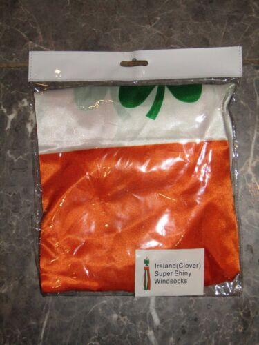 """60/"""" Ireland Irish Shamrock Nylon Super Shiny Wind Sock Windsock"""