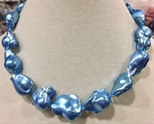 """Belle bleu véritable énorme AAA South Sea Perle Baroque Collier 18/"""""""