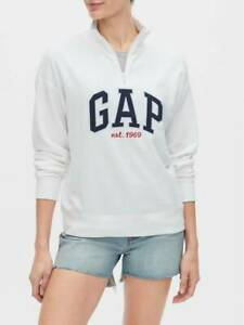 Bnew-GAP-Half-Zip-Logo-Pullover-Sweater-Jacket-Small-White