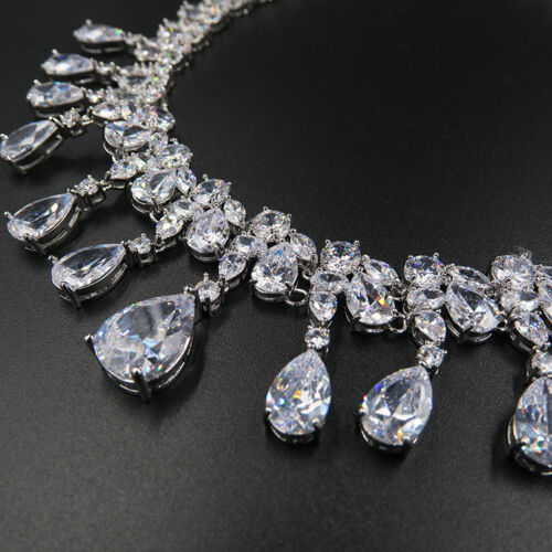 Luxury All CZ Cubic Zirconia Necklace Earrings Set Wedding Party Pageant Prom