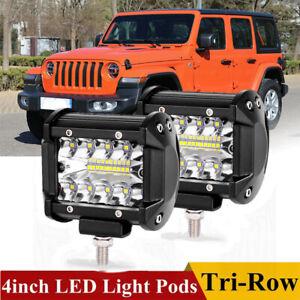 Pair-4Inch-200W-CREE-LED-Work-Light-Bar-Pods-Flush-Mount-Combo-Driving-12V-Lamps