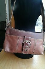 Etienne Aigner Purse 100% Genuine Distressed Cognac Leather Hobo Shoulder Bag