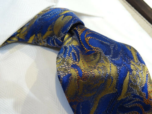 Steven Land Big Knot Silk tie Blue Gold Orange Abstract Mod Floral