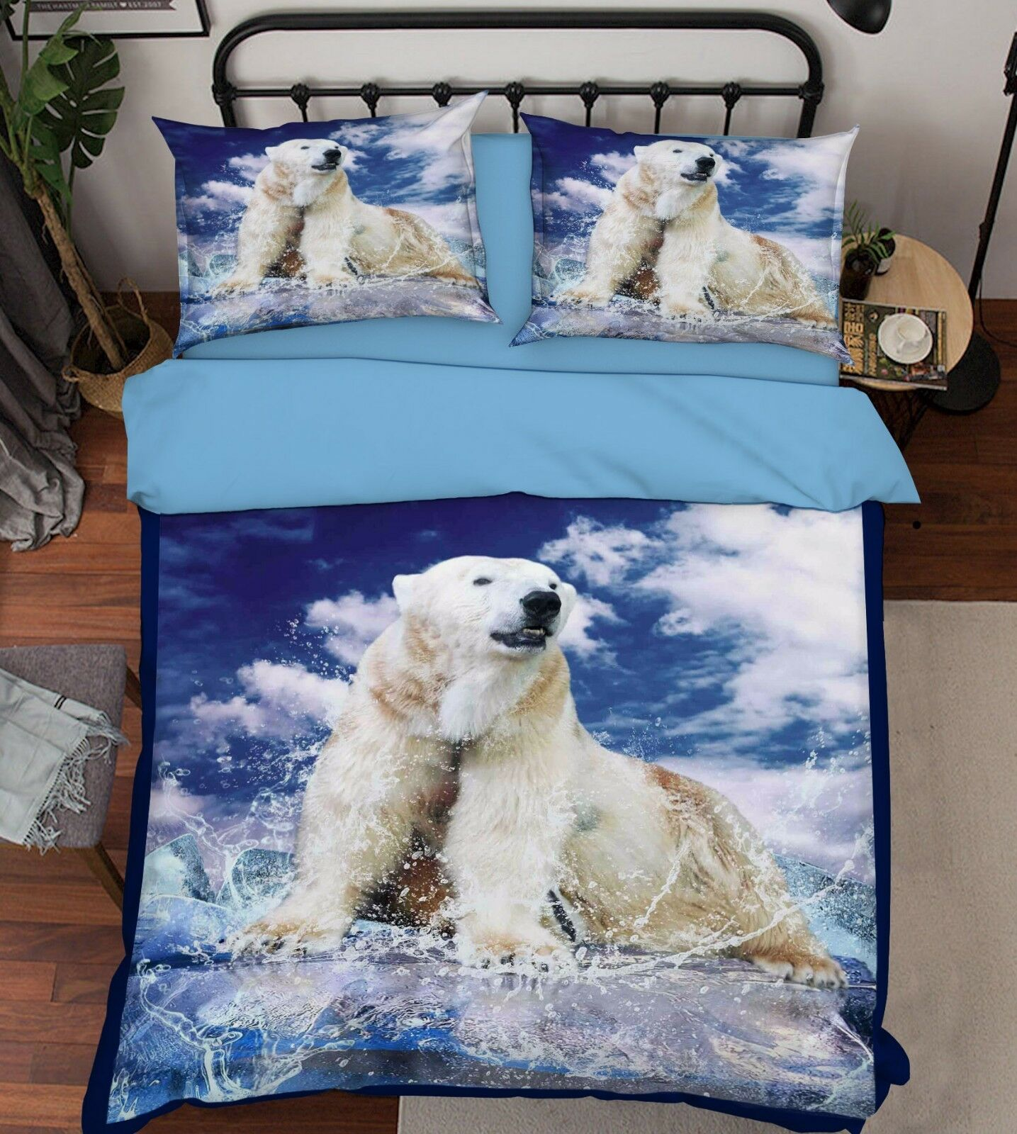 3D Weiß Bear Sky 76 Bett Pillowcases Quilt Duvet Startseite Set Single Königin AU Carly
