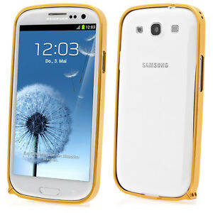 Samsung-Galaxy-S3-i9300-Aluminium-Alu-Bumper-Schutzcase-Schutzhulle-in-gold