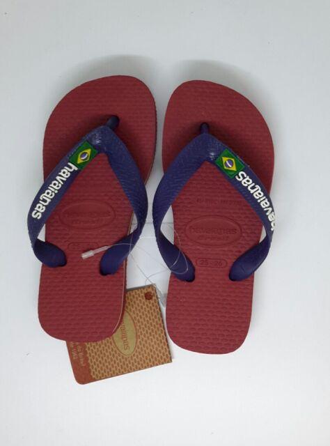 28e0656c004b Havaianas Kids Flip Flops Brazil Logo Red Toe Post Sandals Childrens UK 7-8