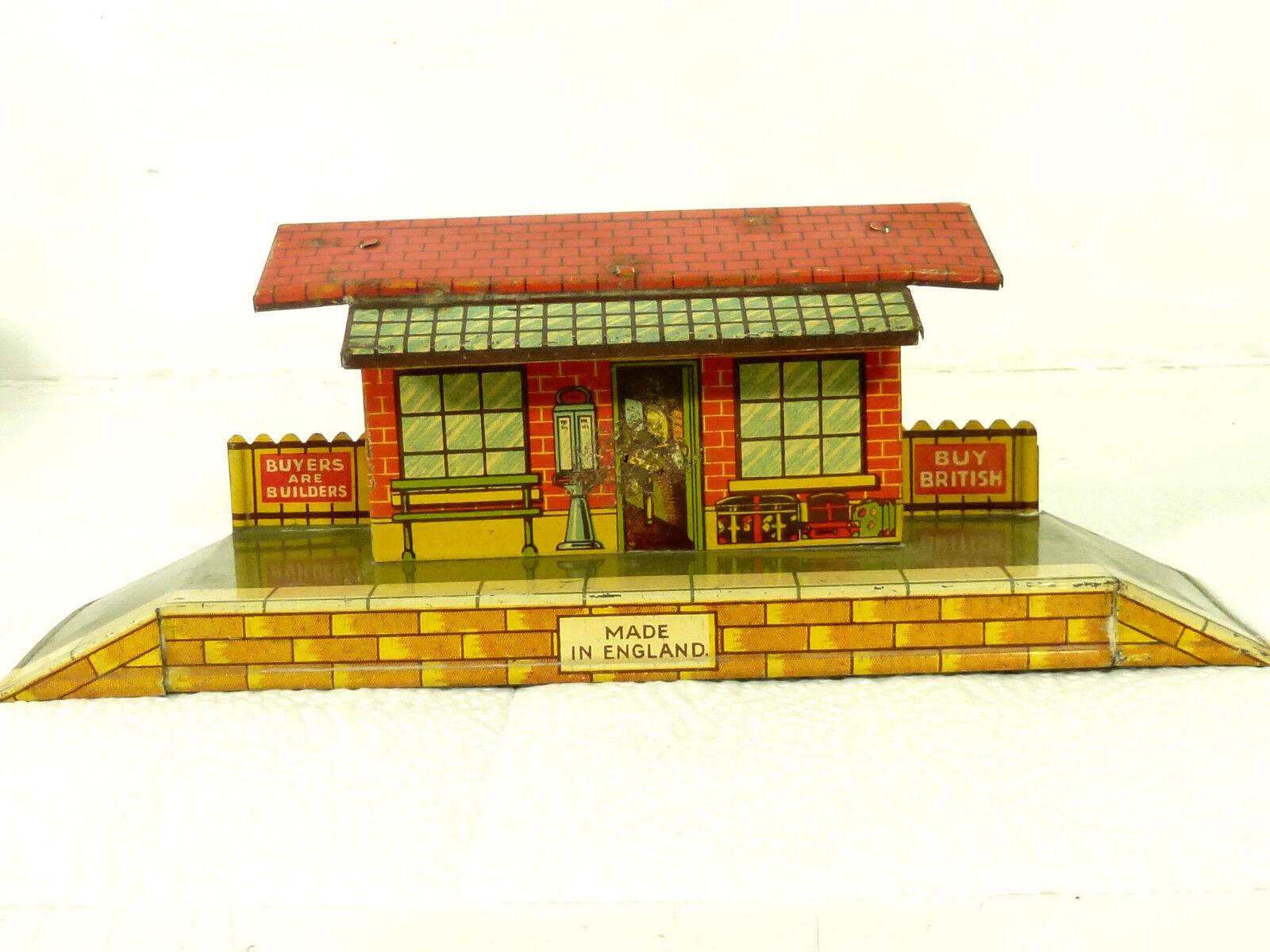 Estación de ferrocarril con cargar y andén, casa, 20 30er años, made en Inglaterra