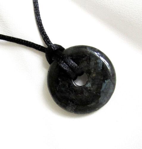 Choice of Stones Small Round Semi Precious DONUT BEAD PENDANT /& Cord Necklace