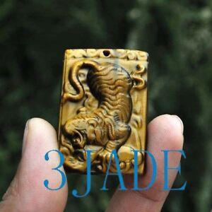Natural-Tiger-039-s-Eye-Gemstone-Tiger-Amulet-Pendant-Necklace