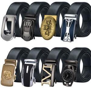 Designer Black Leather Mens Belt Automatic Buckles Dress Jeans Belts XXXXL Gift