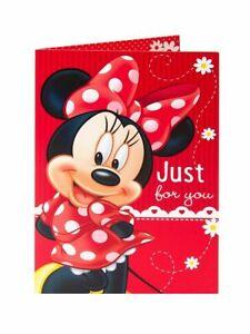 Disney Minnie Mouse En Robe Rouge Et Bow Juste Pour Vous Carte Anniversaire Ebay
