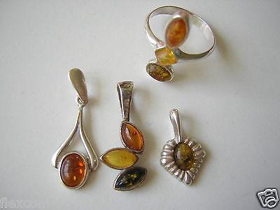 Bernstein/silber Konvolut 8,2 G/4 Teile 3 X Anhänger,1 X Ring Amber/silver Jewelry & Watches