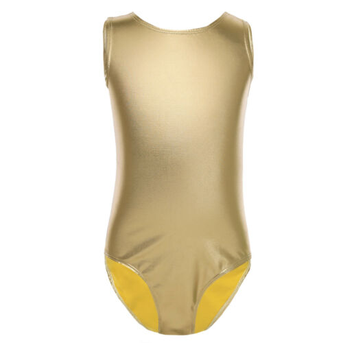 UK Girls Metallic Leotard Bodysuit Gymnastic Ballet Dancewear Practice Costumes