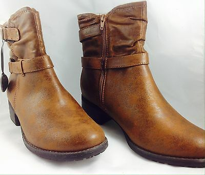Large Size Ladies EVANS Brown Faux Fur Collar Ankle Boots Size UK 9EEE PLUS SIZE