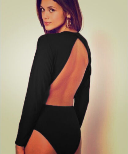 Womens Black Open Back Cut Out Backless Batwing Sleeve Bodysuit Party Top