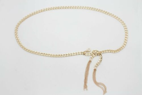 Women Belt Fashion Gold Metal Chain Links Hip Waist Narrow Waistband Tassel M L