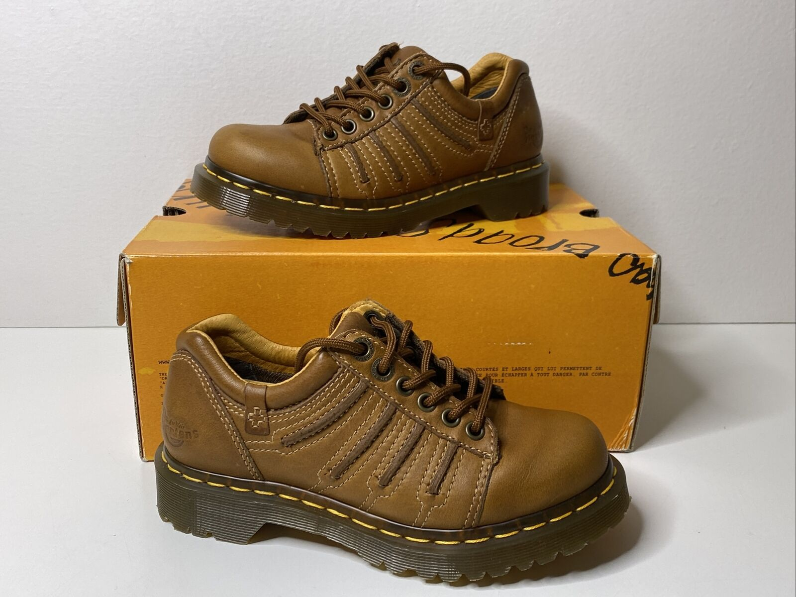 Dr Martens 12037 Brown Leather Oxford 6-eyelet Women's Shoe Sz US 5 UK 3
