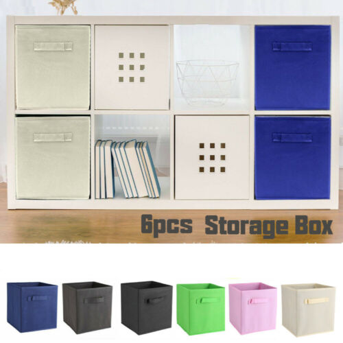 Pack Of 6 Square Canvas Storage Cube Collapsible Fabric Clothes Organizer Boxes