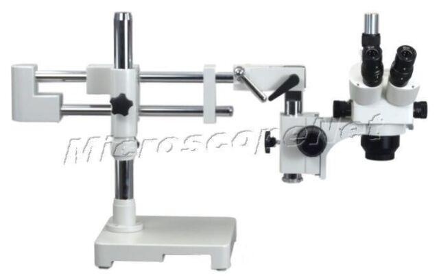 5X-80X Circuit Inspection Trinocular Dual-bar Boom Stand Stereo Zoom Microscope