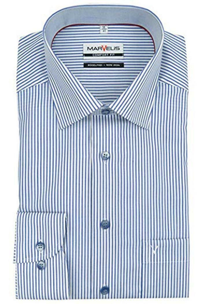 Navy Stripe Contrast Spread Collar