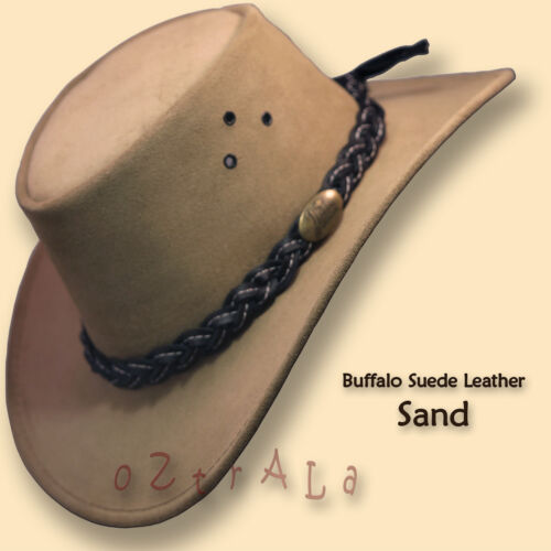 【oZtrALa】 AUSTRALIAN Outback Suede LEATHER Hat Cowboy Mens Womens Childrens Kids