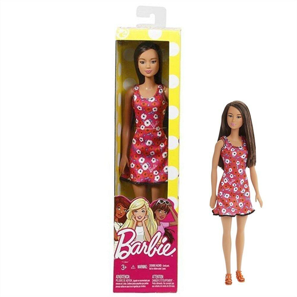 3022366-Barbie P Fashionistas Bambola con Trecce Castane Top Verde con Stampa