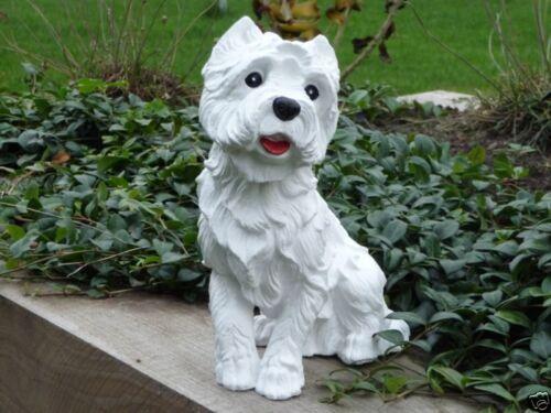 Steinfigur Tierfigur Hund Westi Deko Garten weiß