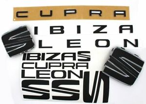 Folie-Emblem-Set-vo-hi-Schriftzug-Leon-Cupra-Schwarz-Matt-fuer-Seat-5F-SC-ST-FR