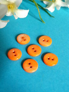 399B-Charming-Small-Buttons-Mother-Of-Pearl-Coloured-Orange-Set-of-6-Buttons