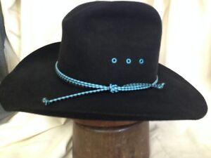 3d66c7df220 Vintage Stetson 4X Beaver Fur Felt Cattleman Mens Black Cowboy Hat ...