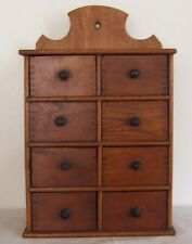 Antique Spice Apothecary Cabinet 8 Dovetail Drawer 1900 Primitive Pine