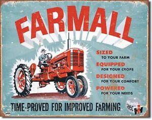 Ih farmall c tin sign antique tractor ad vtg garage metal for International harvester wall decor