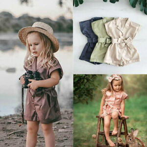 Toddler-Kids-Baby-Girls-Summer-Solid-Romper-Jumpsuits-Headbands-Clothes-Outfit