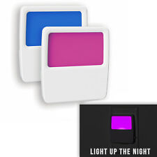 LED Night Light Kids Soft Continuous Blue or Pink Glow, 2-Pack