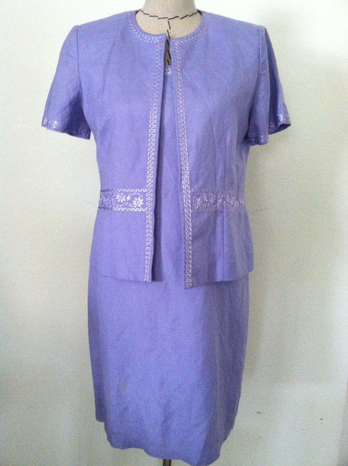 8P Jessica Howard dress purple lavender linen 2pc sheath floral embroidery size