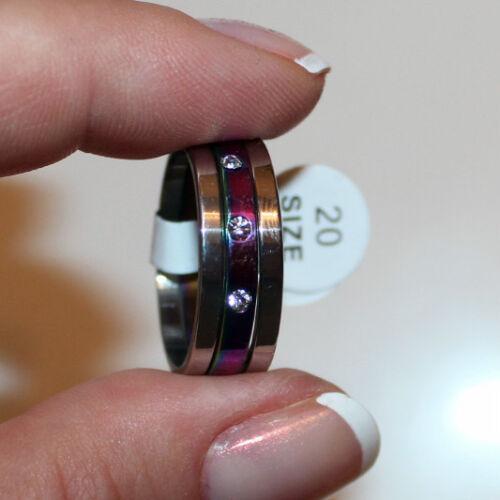 Modeschmuck 3fach-Ring Edelstahl Farbe silber Rainbow Breite 7mm Gr 17-22  #187
