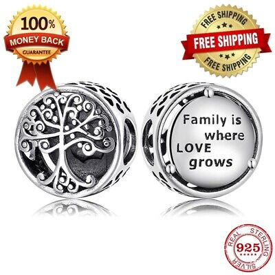 New Authentic Family Is Where Love Grows Charm Sterling Silver S925 Ale New Ebay