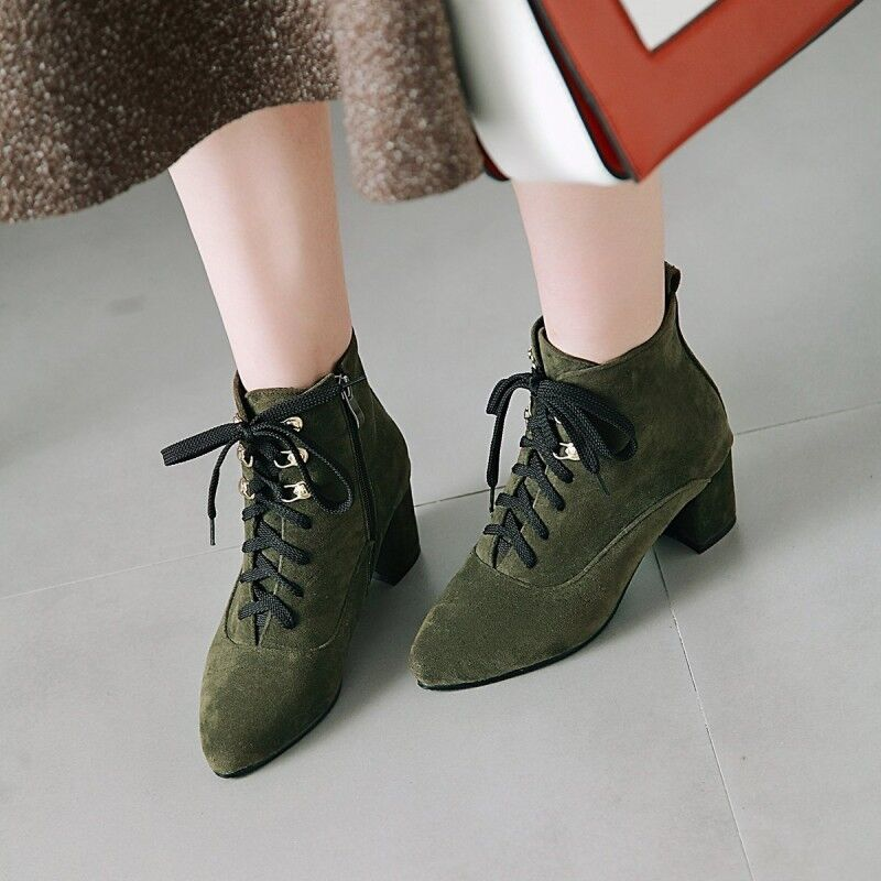 Suede Solid Ankle Boots Lace Up Ladies Block Heels Fashion shoes Casual Hot Sale